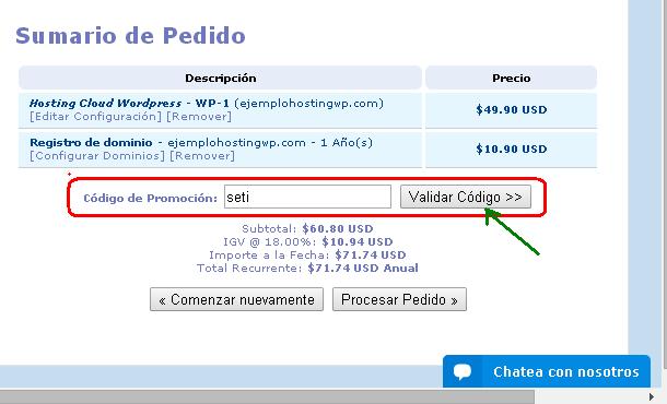 introducir codigo promocion wordpress