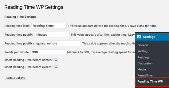 pantallazo reading time wp