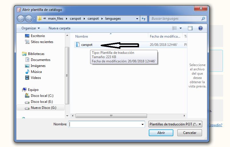 abrir plantilla archivo traduccion
